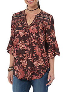 Three-Quarter Sleeve Floral Flounce Top