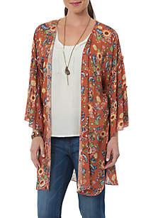 Three-Quarter Sleeve Open Kimono
