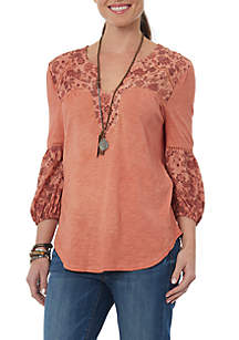 Three-Quarter Sleeve Mixed Media Mandarin Collar Shirt