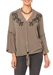 Three-Quarter Sleeve Flounce Sleeve Embroidered Tie Front Shirt