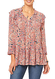 Long Sleeve Ruffle Print Pintuck Shirt