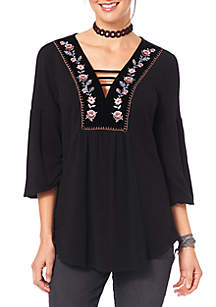Blouson Sleeve Top with Embroidered Velvet Neck