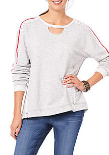 Cut Out Neck Pullover Sweatshirt