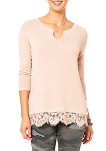 Three-Quarter Lace Accents Notch Neck 2Fer