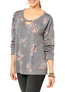 Long Sleeve Cut-Out Floral Print Pullover