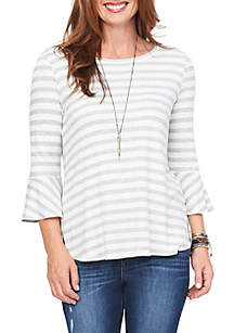 Bell Sleeve Striped Top