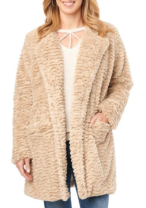 Womens Solid Wavy Fur Coat