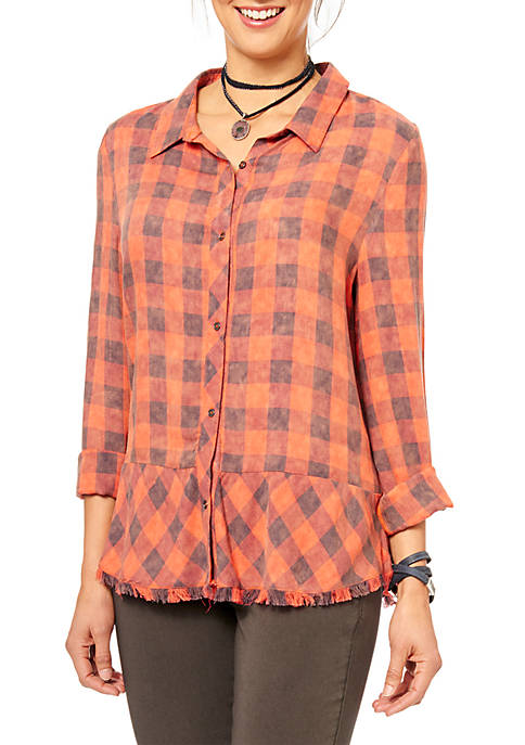 Long Sleeve Button-Front Plaid Shirt