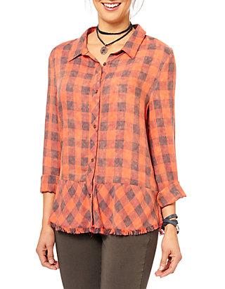 Democracy Womens Plus Size Long Sleeve Plaid Button Up Shirt