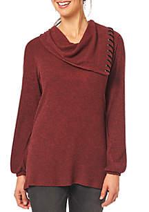 Blouson Sleeve Asymmetrical Cowl Sweater