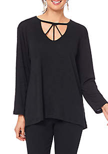 High Low Trapeze 3/4 Sleeve V Cut Top