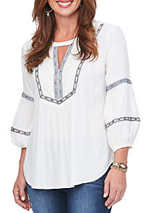 Spliced Blouson Sleeve Embroidered High Low Top