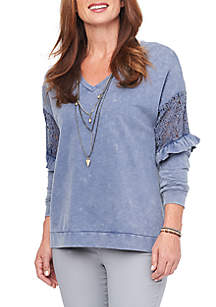 Long Sleeve Lace Inset V-Neck High Low Sweatshirt