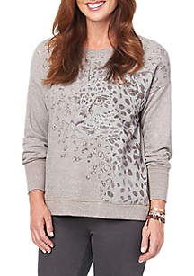 Long Sleeve Screenprint High Low Sweatshirt