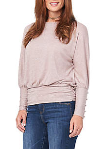 Long Button Dolman Sleeve Boat Neck Banded Top