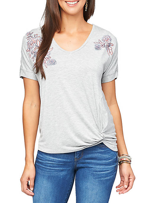 Embroidered Tee with Side Knot