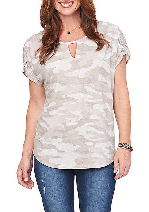 Democracy Short Sleeve Keyhole Neck Camo Top