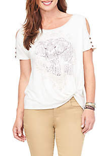 Cold Shoulder Elephant Screenprint Top