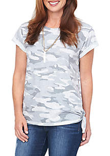 Short Sleeve Roll Cuff Camo Tee with Side Tie