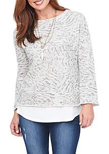 Long Sleeve Printed 2Fer Sweatshirt