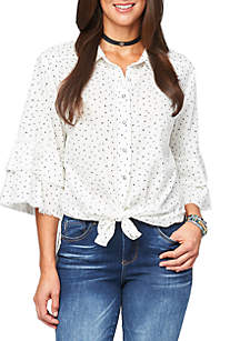 Democracy Flare Sleeve Button Up Top