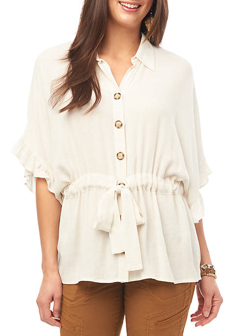 Flounce Dolman Sleeve Top with Waist Tie