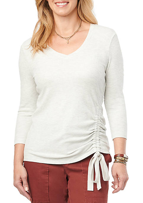 Womens 3/4 Sleeve Side Ruched Top