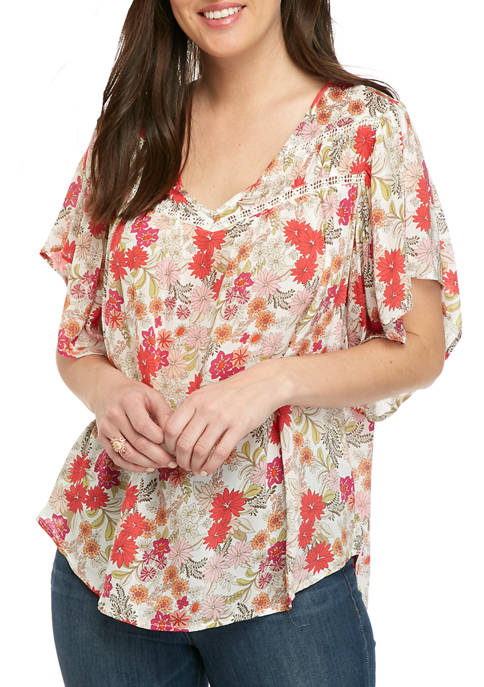Democracy Womens Floral Flutter Sleeve Top