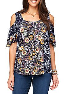 21547ec3dc272 Kim Rogers® Short Sleeve V Neck Space Dye Top · Democracy Cold Shoulder  Placement Screen Top