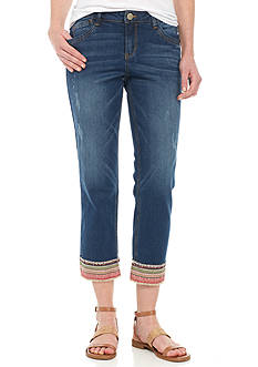 Democracy Embroidered Hem Jeans