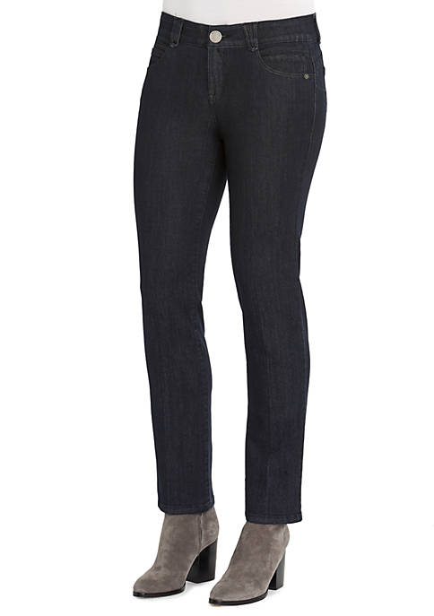 Solid Straight Leg Jeans