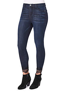 High Rise Lace Ankle Skimmer Jeans