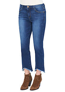 High Rise Slim  Straight Notched Hem Jeans
