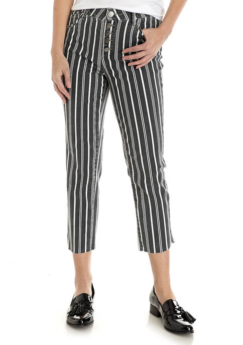 Democracy Womens Absolution Stripe High Rise Crop Jeans