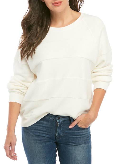 Democracy Womens Mixed Media Striped Sweatshirt