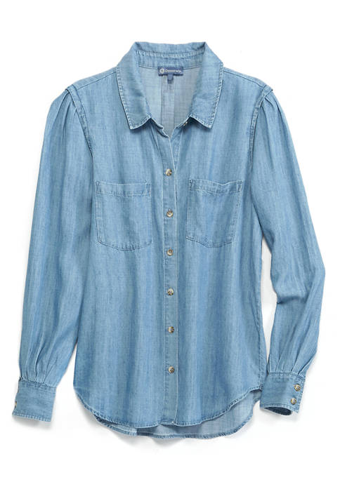 Democracy Womens Chambray Long Sleeve Button Down Top
