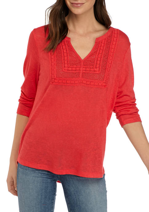 Democracy Womens 3/4 Sleeve Crochet Yoke Knit Top