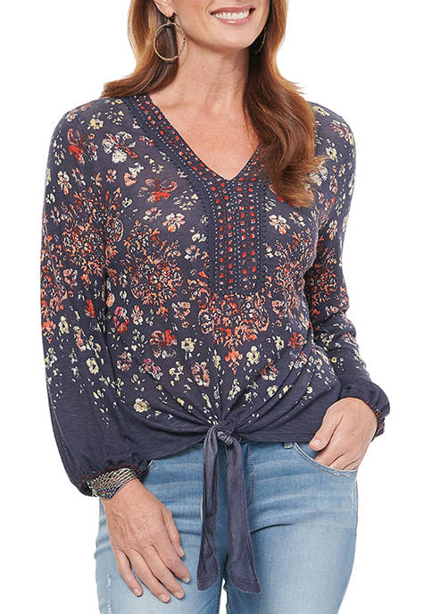 Democracy Womens Tie Front Printed Top