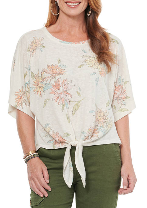 Democracy Womens Floral Print Tie Front Short Sleeve