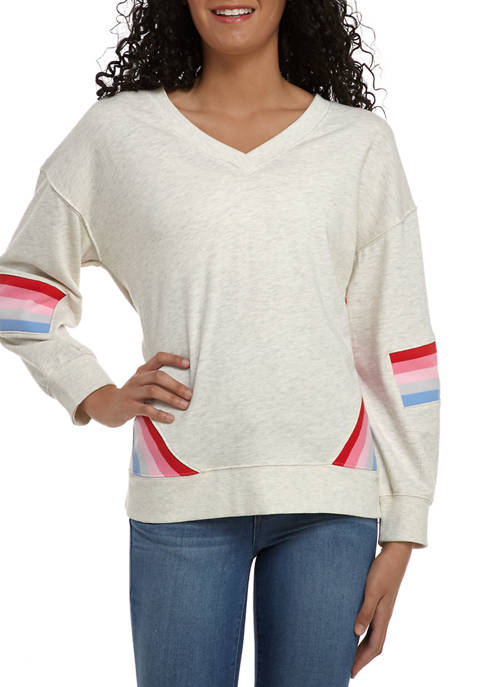 Democracy Womens Multi Stripe Inset V-Neck Sweatshirt
