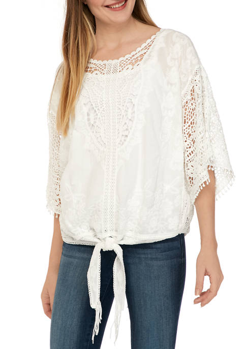 Democracy Womens Crochet Tie Front Kimono Top