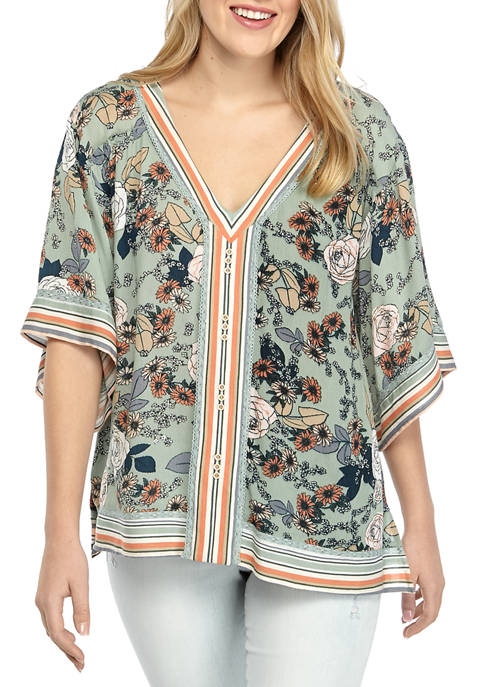 Democracy Womens Floral Kimono Sleeve East West Top