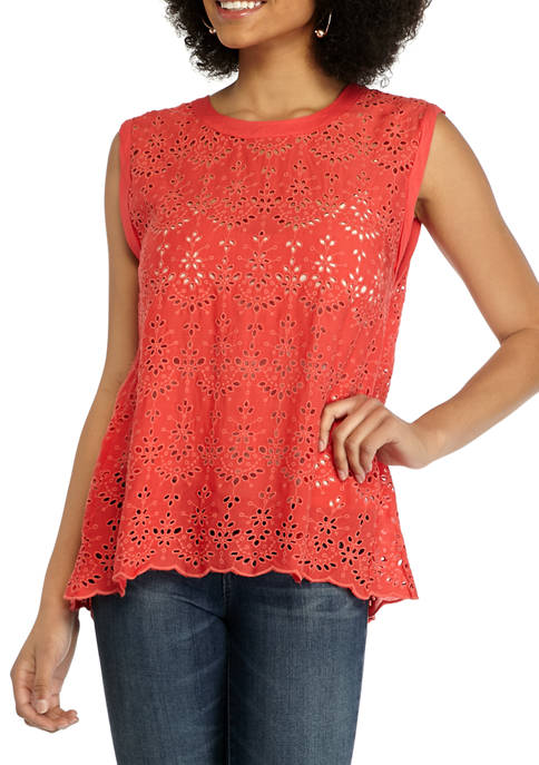 Democracy Womens Eyelet Tank Top