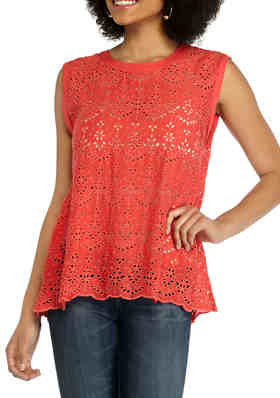 Democracy Womens Embroidered Floral Twist Front Top Medium Off White Multi