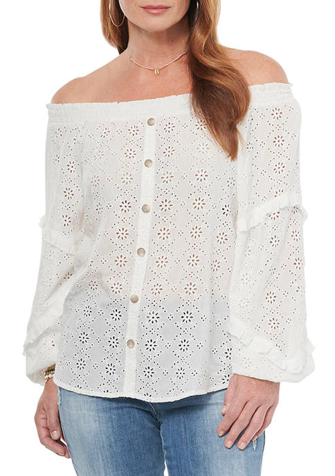 Democracy Womens 3/4 Sleeve Eyelet Button Front Blouse