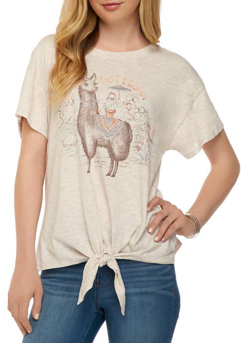 Democracy Womens Hot Llama Tie Front T-Shirt