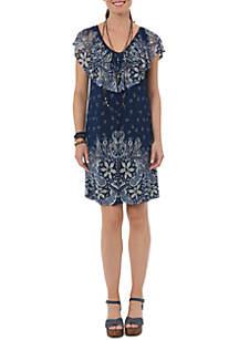 V-Neck Ruffle Mixed Media Dress