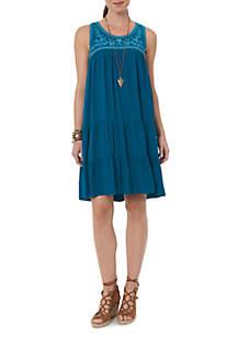 Sleeveless Dye Cut Embroidered Yoke Dress