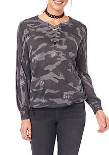 Bubble Hem Lace-Up Camo Sweater