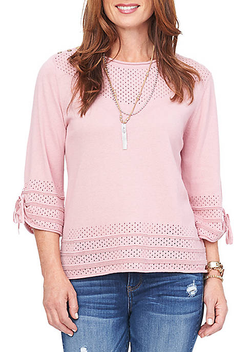 3/4 Tie Sleeve Open Weave Button Neck Sweater